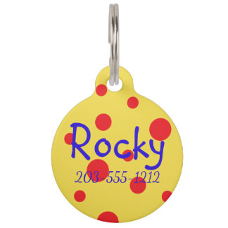 HAMbyWG - Dog Name Tag - Crazy Red Polka Dot