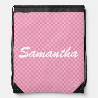 HAMbyWG - Drawstring Backpack - Light Pink Checker
