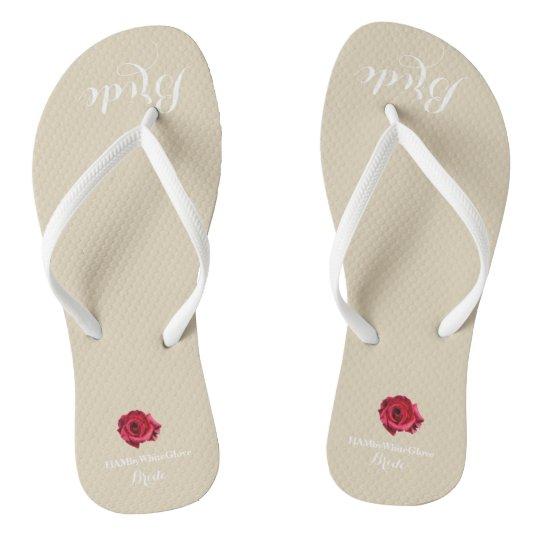 HAMbyWG - Flip-Flop - Bride w/White Lettering/Rose Flip Flops