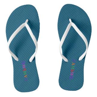 HAMbyWG - Flip-Flops - Aqua w Bright Multi Logo Flip Flops