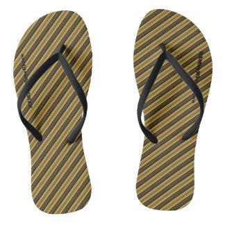 HAMbyWG - Flip-Flops Black, Gold Stripe Flip Flops