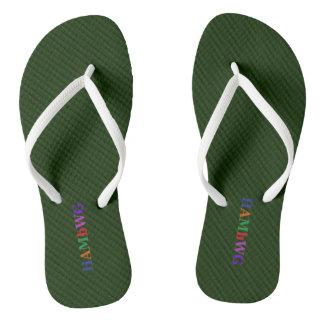 HAMbyWG - Flip-Flops Dark Green Bright Multi Logo Flip Flops