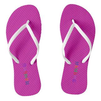 HAMbyWG - Flip-Flops - Fuschia w Bright Multi Logo Flip Flops