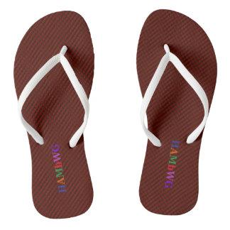 HAMbyWG - Flip-Flops - Garnet w Bright Multi Logo Flip Flops