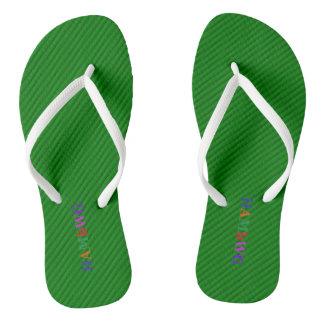HAMbyWG - Flip-Flops - Green w Bright Multi Logo Flip Flops