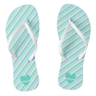 HAMbyWG - Flip-Flops - Mint Stripe Mint Heart Flip Flops