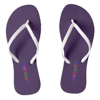 HAMbyWG - Flip-Flops - Purple w Bright Multi Logo Flip Flops