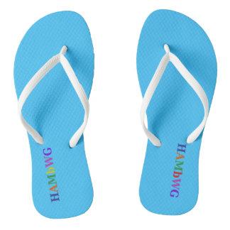 HAMbyWG - Flip-Flops -  Sky Blue w Multi Logo Flip Flops
