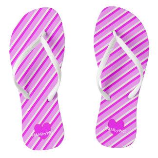 HAMbyWG - Flip-Flops -  Violet Stripes & Heart Flip Flops