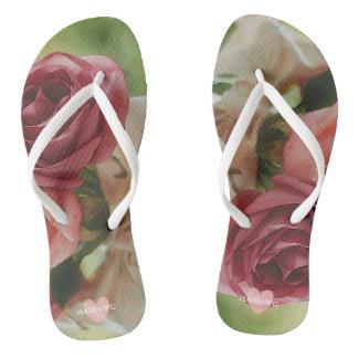 HAMbyWG - Flip-Flops - Watercolor Roses Flip Flops