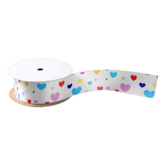 HAMbyWG - Gift Ribbon - Colorful Hearts Satin Ribbon