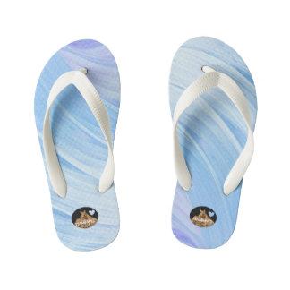 HAMbyWG Girl's Flip-Flops -Blue Lavender Swirl Kid's Flip Flops