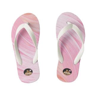 HAMbyWG Girl's Flip-Flops - Pink Peach Swirl Kid's Flip Flops