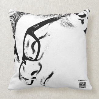 HAMbyWG - Hipster Man With Glasses QR & Logo Throw Pillow