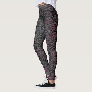 HAMbyWG - Leggings - Lizard Skin w Charcoal Pink