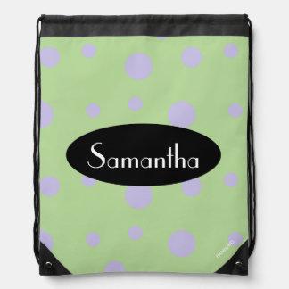 HAMbyWG - Lilac Polka Dots Drawstring Bag