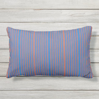 HAMbyWG Lumbar Pillow - Bright Blue/Red ThinStripe