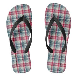 HAMbyWG - Mens Flip-Flops Blue Cherry Plaid Flip Flops