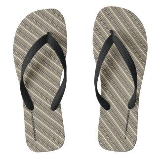 HAMbyWG - Mens Flip-Flops Brown/Beige Mix Stripes Flip Flops