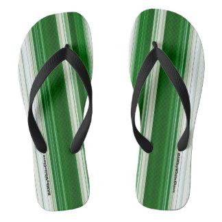 HAMbyWG - Mens Flip-Flops  Green & White Flip Flops