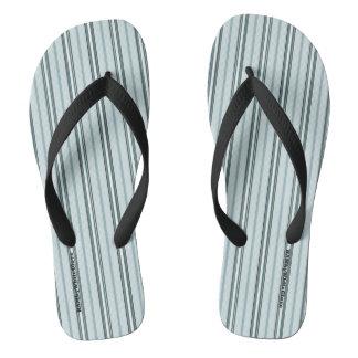 HAMbyWG - Mens Flip-Flops Light Blue Stripes Flip Flops