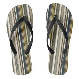 HAMbyWG - Mens Flip-Flops  Mix Stripes Flip Flops
