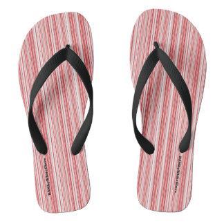 HAMbyWG - Mens Flip-Flops Red White Thin Stripes Flip Flops