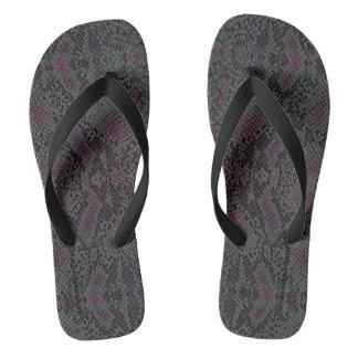 HAMbyWG - Mens Flip-Flops  Snake - w Pink Charcoal Flip Flops