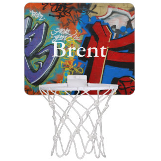 HAMbyWG - Mini Basketball Hoop  Red/Blue Graphitti