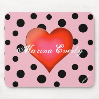 HAMbyWG - Mouse Pad -- Polka Dots w Red Heart