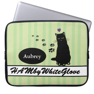 HAMbyWG - Neoprene Laptop Sleeve - w Cat & Stripes