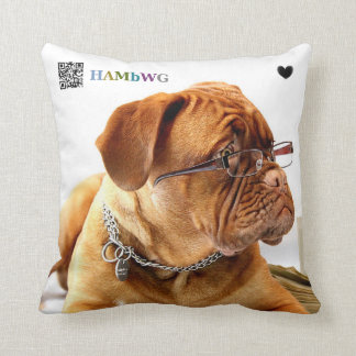 HAMbyWG Novelty Bulldog with Glasses Throw Pillow