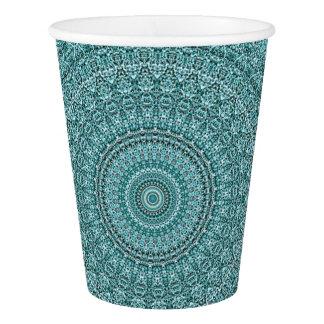 HAMbyWG - Paper Cup, 9 oz - Light Teal Mandala Paper Cup
