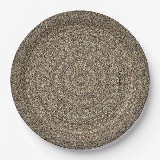 "HAMbyWG - Paper Plate 7 or 9"" - Tan Mandala"