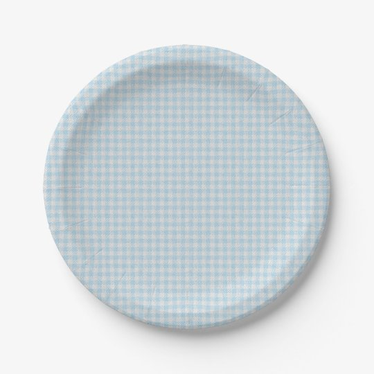 HAMbyWG - Paper Plate - Baby Blue Gingham 7 Inch Paper Plate