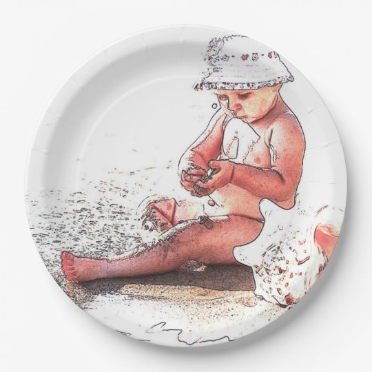 HAMbyWG - Paper Plate - Baby on Beach 9 Inch Paper Plate