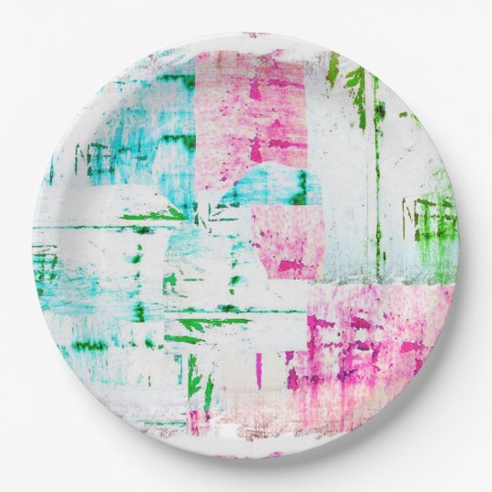 HAMbyWG - Paper Plate - Bright Distressed 9 Inch Paper Plate