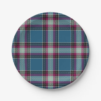 HAMbyWG - Paper Plate - Col Blue Plaid 7 Inch Paper Plate