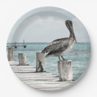 HAMbyWG - Paper Plate - Pelicans on Dock 9 Inch Paper Plate