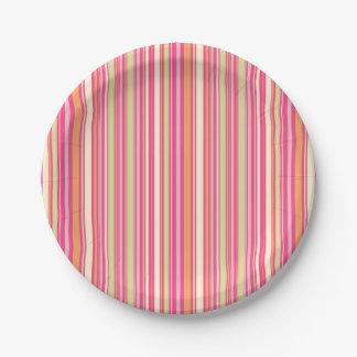 HAMbyWG - Paper Plate - Pink Sherbert Bar Stripe 7 Inch Paper Plate