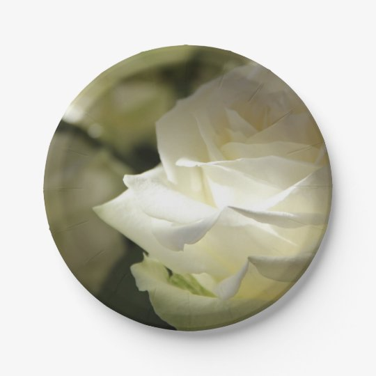 HAMbyWG - Paper Plate - White Roses 7 Inch Paper Plate