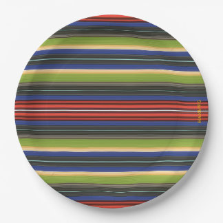 "HAMbyWG - Paper Plates 9"" - Green Blue Red Gold Bl 9 Inch Paper Plate"