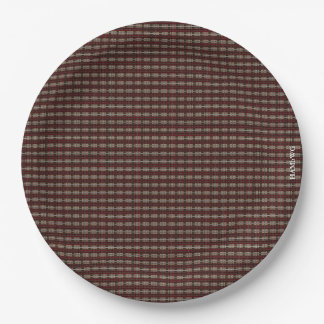 "HAMbyWG - Paper Plates 9"" - Tiny Plaid Graphic 9 Inch Paper Plate"