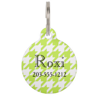 HAMbyWG - Pet Name Tag - Lime Houndstooth