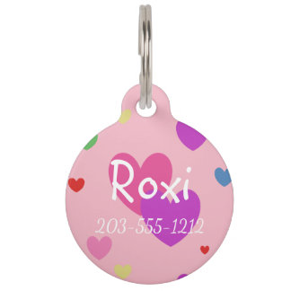 HAMbyWG - Pet Name Tag - Multi-Color Hearts