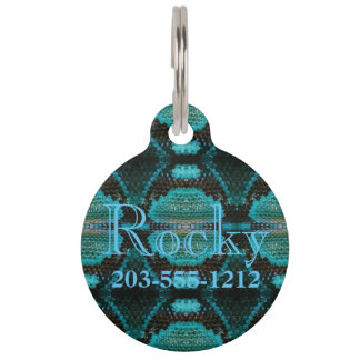 HAMbyWG - Pet Name Tag - Turquoise Snakeskin