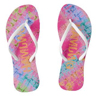 HAMbyWG Slim Straps Flip-Flops Multi-Color tye-dye Flip Flops