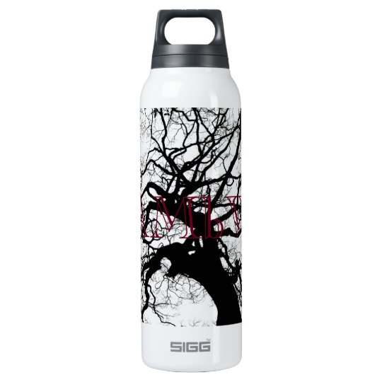 HAMbyWG - Thermos (0.5L) Black Tree on White Insulated Water Bottle