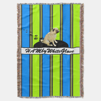 HAMbyWG - Throw Blanket - .Blue & Lime Stripe