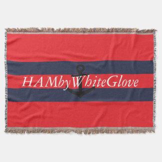 HAMbyWG - Throw Blanket Bright Red & Navy w Logo